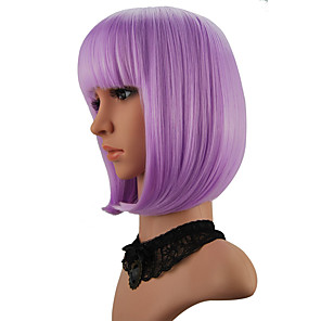 cheap Synthetic Trendy Wigs-Cosplay Costume Wig Synthetic Wig kinky Straight Halloween Bob Neat Bang Wig Short Purple Synthetic Hair 12 inch Women's Purple