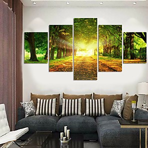 cheap Abstract Paintings-5 Panels Modern Canvas Prints Painting Home Decor Artwork Pictures DecorPrint Rolled Stretched Modern Art Prints Landscape Botanical