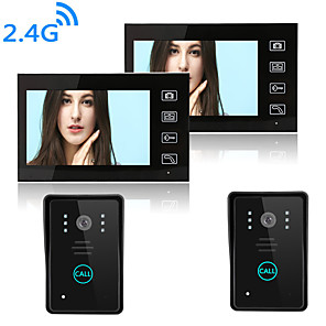 cheap Video Door Phone Systems-Wireless 2.4GHz 7 inch Hands-free 800*480 Pixel Two to Two video doorphone