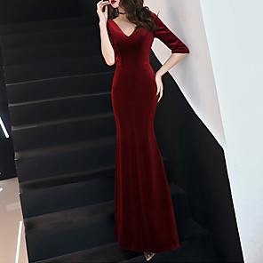 cheap Latin Dancewear-Mermaid / Trumpet Sexy Red Prom Formal Evening Dress V Neck Half Sleeve Floor Length Velvet with Pleats 2020