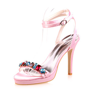 cheap Wedding Shoes-Women's Wedding Shoes Stiletto Heel Open Toe Rhinestone Satin Minimalism Spring & Summer White / Purple / Red / Party & Evening