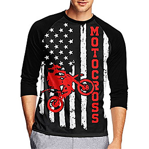 cheap Cycling Jerseys-21Grams Men's Long Sleeve Cycling Jersey Downhill Jersey Dirt Bike Jersey Black / Red Stripes Stars National Flag Bike Jersey Top Mountain Bike MTB Road Bike Cycling UV Resistant Breathable Quick Dry