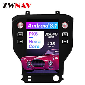 cheap Car DVD Players-ZWNAV 11.8 inch Tesla Style Android 8.1 4GB 64GB Car Stereo Car GPS Navigation Car MP5 Player Car Multimedia Player World Maps Carplay SWC Bluetooth Voice Control WiFi HDMI for Ford Mustang 2015