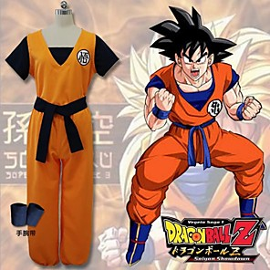 cheap Anime Costumes-Inspired by Dragon Ball Goku Anime Cosplay Costumes Japanese Cosplay Suits Patchwork Short Sleeve Vest Pants Bracelet For Men's Women's / T-shirt / Belt / Belt / T-shirt