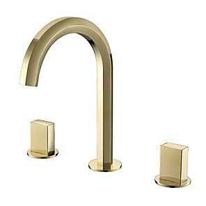 cheap Multi Holes-Bathroom Sink Faucet - Black / Chrome / Golden Basin Sink Mixer Tap Contemporary Luxury Hot and Cold Water Faucet