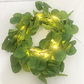 cheap LED String Lights-New Artificial Ivy Eucalyptus Leaves Fairy Led String Garland Party Holiday Decor Lighting Led String For Wedding Home Led AA Battery Power 2M 20Leds