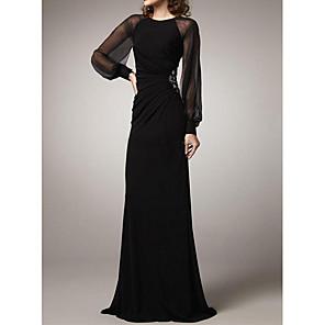 cheap Wedding Veils-Sheath / Column Elegant Black Wedding Guest Formal Evening Dress Jewel Neck Long Sleeve Floor Length Polyester with Ruched Beading 2020