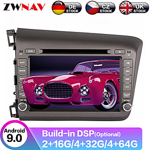 cheap Car DVD Players-ZWNAV 7inch 2din 4GB 64GB Android 9 Car DVD player GPS navigation car Multimedia Player auto radio tape recorder radio Stereo For Honda Civic 2012-2015