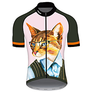 cheap Cycling Jerseys-21Grams Men's Short Sleeve Cycling Jersey Pink Cat Animal Bike Jersey Top Mountain Bike MTB Road Bike Cycling UV Resistant Breathable Quick Dry Sports Clothing Apparel / Stretchy / Race Fit