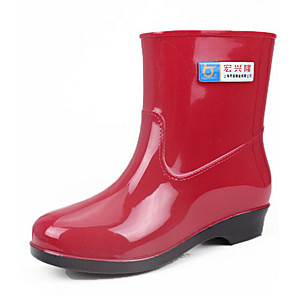 cheap Women's Boots-Women's Boots Flat Heel Round Toe PVC Mid-Calf Boots Spring & Summer / Fall & Winter Red / Blue / Khaki