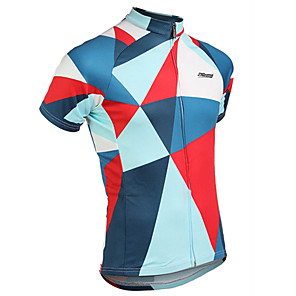 cheap Cycling Jerseys-21Grams Men's Short Sleeve Cycling Jersey Red+Blue Plaid / Checkered Bike Jersey Top Mountain Bike MTB Road Bike Cycling UV Resistant Breathable Quick Dry Sports Clothing Apparel / Stretchy
