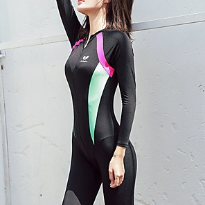 cheap Wetsuits, Diving Suits & Rash Guard Shirts-Women's Rash Guard Dive Skin Suit Elastane Top Bottoms UV Sun Protection Breathable Full Body 2-Piece Front Zip - Swimming Diving Water Sports Patchwork Spring Summer