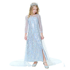 cheap Movie & TV Theme Costumes-Princess Elsa Dress Girls' Movie Cosplay Cosplay White Dress Halloween Carnival Masquerade Polyester Sequin