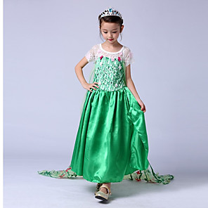 cheap Movie & TV Theme Costumes-Princess Elsa Vintage Dress Party Costume Girls' Costume Green / Blue / LightBlue Vintage Cosplay Sleeveless Long Length