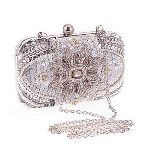 cheap Clutches & Evening Bags-Women's Crystals Polyester Evening Bag Floral Print Silver