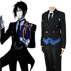 cheap Anime Costumes-Inspired by Black Butler Sebastian Michaelis Anime Cosplay Costumes Japanese Cosplay Suits Coat Vest Shirt For Men's Women's / Pants / Gloves