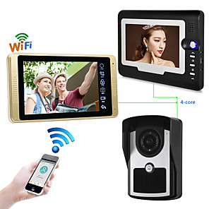 cheap Video Door Phone Systems-Wired & Wireless 7 inch Hands-free 1024*600 Pixel One to Two video doorphone