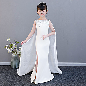 cheap Movie & TV Theme Costumes-Mermaid / Trumpet Court Train Wedding / Party / Pageant Flower Girl Dresses - Spun Rayon Sleeveless Jewel Neck with Split Front