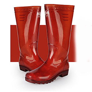 cheap Wedding Shoes-Men's PVC Spring & Summer Boots Waterproof Knee High Boots Black / Red / Burgundy