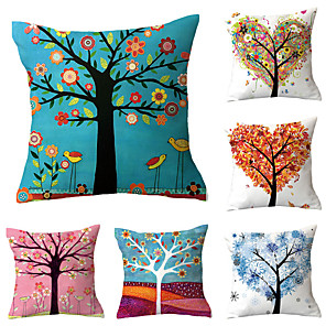 cheap Sale-6 pcs Polyester Pillow Cover, Flamingo Floral Print Simple Vintage Square Traditional Classic