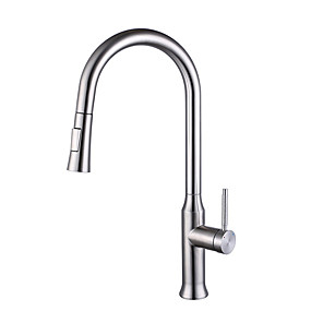 cheap Kitchen Faucets-Kitchen faucet - Touch Smart Kitchen Sink Faucet Single Handle One Hole Stainless Steel Pull-out / Pull-down Centerset Contemporary Kitchen Taps