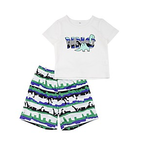 cheap Clearance-Baby Boys' Street chic Print Short Sleeve Regular Clothing Set White