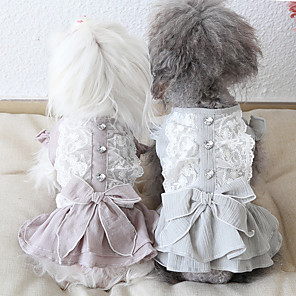 cheap Dog Clothes-Dog Costume Dress Dog Clothes Breathable Pink Green Gray Costume Beagle Bichon Frise Chihuahua Cotton Bowknot Lace Casual / Sporty Cute XS S M L XL