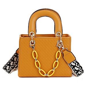 cheap Handbag & Totes-Women's Zipper PU Top Handle Bag Solid Color Yellow / Blushing Pink / Red