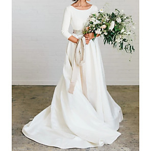 cheap Party Sashes-A-Line Wedding Dresses Jewel Neck Sweep / Brush Train Polyester 3/4 Length Sleeve Formal Plus Size Elegant with Draping 2020