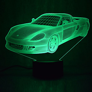 cheap 3D Night Lights-1Pc Usb Power Abstract Art 3D Lights Colorful Touch Gradient Vision Night Lights Colorful 3D Acrylic Table Lamp&Lamborghini RERA