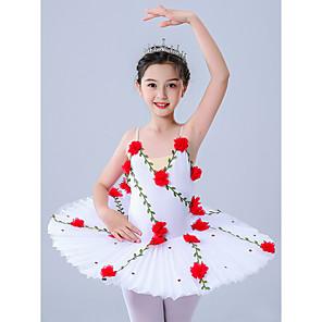 cheap Kids' Dancewear-Kids' Dancewear Gymnastics Ballet Leotard / Onesie Pleats Embroidery Crystals / Rhinestones Girls' Performance Theme Party Sleeveless Tulle Polyester