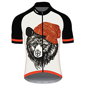 cheap Cycling Jerseys-21Grams Men's Short Sleeve Cycling Jersey Black / White Animal Bear Bike Jersey Top Mountain Bike MTB Road Bike Cycling UV Resistant Breathable Quick Dry Sports Clothing Apparel / Stretchy / Race Fit
