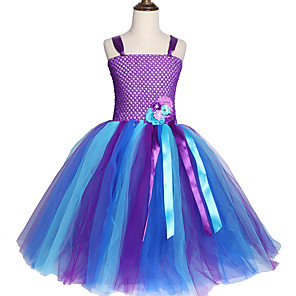 cheap Movie & TV Theme Costumes-Kids Girls' Cute Street chic Patchwork Halloween Cut Out Mesh Sleeveless Knee-length Dress Purple