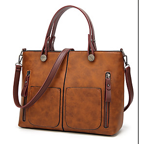 cheap Wedding Shoes-Men's Zipper PU Briefcase Solid Color Brown
