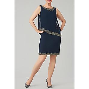 cheap Wedding Shoes-Sheath / Column Mother of the Bride Dress Elegant Jewel Neck Knee Length Chiffon Sleeveless with Beading Sequin 2020