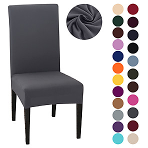 cheap Chair Cover-Chair Cover Strech Dining Chair Slipcover High Stretch Black/Gray/White Furniture Protector Spandex Removable Washable Chair Seat Protector Cover for Home Party Hotel Wedding  Ceremony