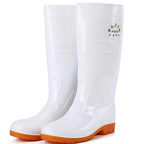 cheap Men's Boots-Men's PVC Spring & Summer Boots Waterproof Mid-Calf Boots White