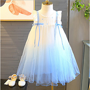 cheap Movie & TV Theme Costumes-Kids Girls' Solid Colored Dress Light Blue