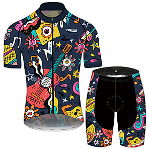 cheap Cycling Jersey & Shorts / Pants Sets-21Grams Men's Short Sleeve Cycling Jersey with Shorts Black / Yellow Floral Botanical Bike Clothing Suit UV Resistant Breathable 3D Pad Quick Dry Sweat-wicking Sports Floral Botanical Mountain Bike