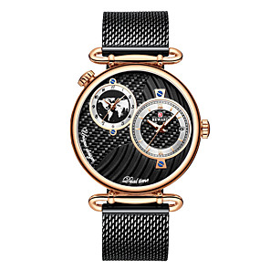 cheap Quartz Watches-Men's Dress Watch Japanese Quartz Stainless Steel 30 m Water Resistant / Waterproof Dual Time Zones Day Date Analog Fashion Cool - Black+Gloden Gold Blue One Year Battery Life