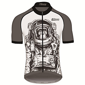 cheap Cycling Jerseys-21Grams Men's Short Sleeve Cycling Jersey Gray+White Animal Astronaut Monkey Bike Jersey Top Mountain Bike MTB Road Bike Cycling UV Resistant Breathable Quick Dry Sports Clothing Apparel / Stretchy
