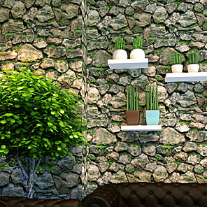 cheap Artificial Plants-20in*300in Stone Wallpaper Brick Contact Paper Fireplace Kitchen Backsplash Peel-Stick Wall Stickers Door Sticker Counter Top Liners (Stone Grass)