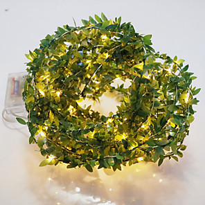 cheap LED String Lights-10M 100LED Artificial Plants Led String Light Creeper Green Leaf Ivy Vine For Home Wedding Decor Lamp DIY Hanging Garden Yard Lighting Powered By AAA Battery Box 1 set