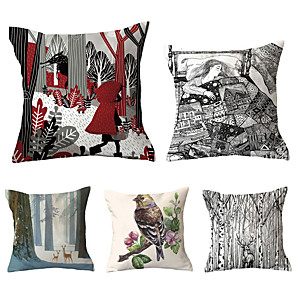 cheap Sale-5 pcs Polyester Pillow Cover, Retro Floral Print Simple Vintage Square Traditional Classic