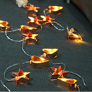cheap LED String Lights-LED Iron Art Five-Pointed Star Love Light String Personality Creative Decoration Lamp Rose Gold Nordic Lantern Flashing Christmas