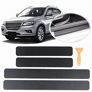 cheap Car Body Decoration & Protection-4 PCS Universal Car Door Sill Anti kick Stickers Scuff Anti Scratch Carbon Fiber Auto Door Sticker Car Accessories Small scraper