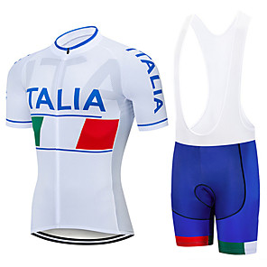 cheap Cycling Jersey & Shorts / Pants Sets-21Grams Men's Short Sleeve Cycling Jersey with Bib Shorts Spandex Polyester White Italy National Flag Bike Clothing Suit UV Resistant Breathable 3D Pad Quick Dry Sweat-wicking Sports Italy Mountain