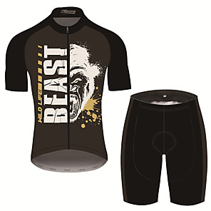 cheap Cycling Jersey & Shorts / Pants Sets-21Grams Men's Short Sleeve Cycling Jersey with Shorts Black / White Animal Bike Clothing Suit UV Resistant Breathable 3D Pad Quick Dry Sweat-wicking Sports Patterned Mountain Bike MTB Road Bike