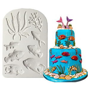 cheap Wall Stickers-1pcs DIY Fondant Dried Pace Fish Mold Marine Animal Silicone Mold
