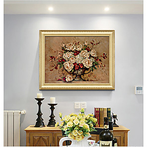 cheap Framed Arts-Framed Art Print Classical Rococo Style  Antique Golden Framed Flower Oil Painting
